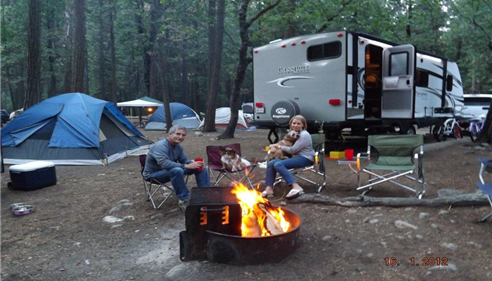 Kris & Nick Avram camping in Julian with their dogs Jean Luc and Molley.