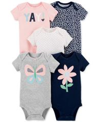 Image of Carter's Baby Girls 5-Pack Printed Cotton Bodysuits