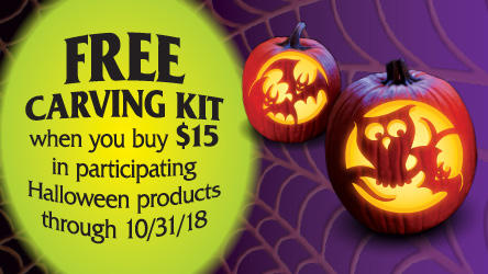 Picture of carved pumpkins.  Free carving kit when you buy $15 in participating Halloween products through 10/31/18.