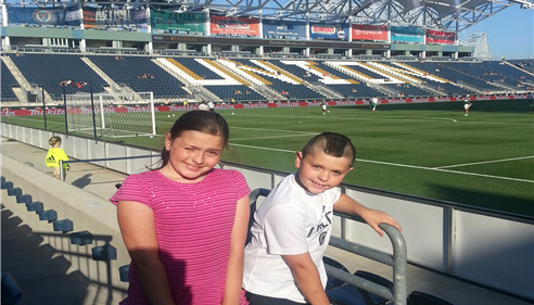 Summer and Tyler at the Philadelphia Union vs NY Cosmos soccer match.