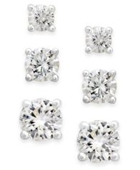 Image of Charter Club Cubic Zirconia Extra-Small Stud Earring Set (1-3/4 ct. t.w.)