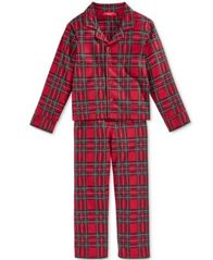 Image of Family Pajamas Boys' or Girls' Holiday Plaid Pajama Set, Created for Macy's
