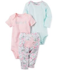 Image of Carter's 3-Pc. Cotton Sweet Bodysuits & Pants Set, Baby Girls (0-24 months)