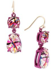 Image of Betsey Johnson Pink-Tone Graffiti-Print Crystal Drop Earrings