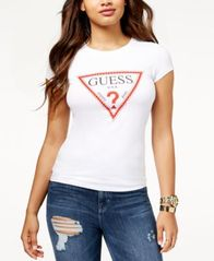 Image of GUESS Embellished Triangle Logo T-Shirt