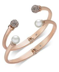 Image of Charter Club 2-Pc. Set Pavé Bead & Imitation Pearl Cuff Bracelets, Created for Macy's