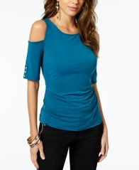 Image of Thalia Sodi Ruched Cold-Shoulder Top, Created for Macy's
