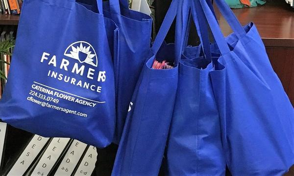Donated school supplies in bags adorned with the Caterina Flower Farmers Insurance Agency logo