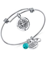 Image of Unwritten Journey Charm and Manufactured Turquoise (8mm) Adjustable Bangle Bracelet in Stainless Ste