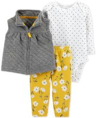 Image of Carter's Baby Girls 3-Pc. Vest, Bodysuit & Pants Set