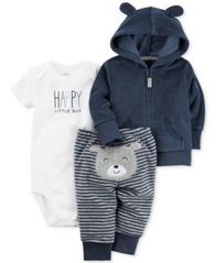 Image of Carter's 3-Pc. Hoodie, Happy Bodysuit & Bear Pants Set, Baby Boys (0-24 months)