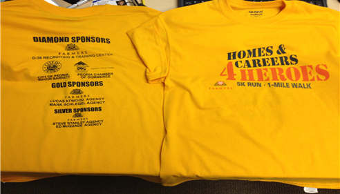 Shirts from the Homes & Careers 4 Heroes event in Peoria to help call us