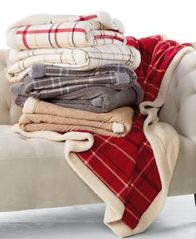Image Of Martha Stewart Collection Classic Reversible Sherpa Throw, Created  For Macyu0027s