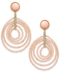 Image of INC International Concepts Gold-Tone Beaded Spiral Orbital Drop Earrings, Created for Macy's