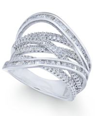 Image of Cubic Zirconia Crisscross Statement Ring in Sterling Silver