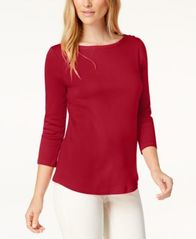 Image of Charter Club Pima Cotton Boat-Neck Button-Shoulder Top, Created for Macy's