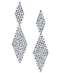 Image of I.N.C. Silver-Tone Crystal Mesh Drop Earrings, Created for Macy's