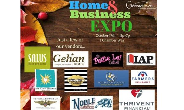 An event poster for Georgetown Home & Business Expo, October 17th 5p-7p, 1 Chamber Way