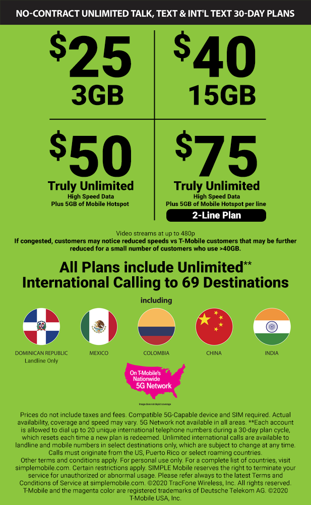 SIMPLE Mobile phone service Plans