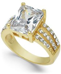 Image of Charter Club Gold-Tone Emerald-Cut Crystal Triple-Row Ring, Created for Macy's
