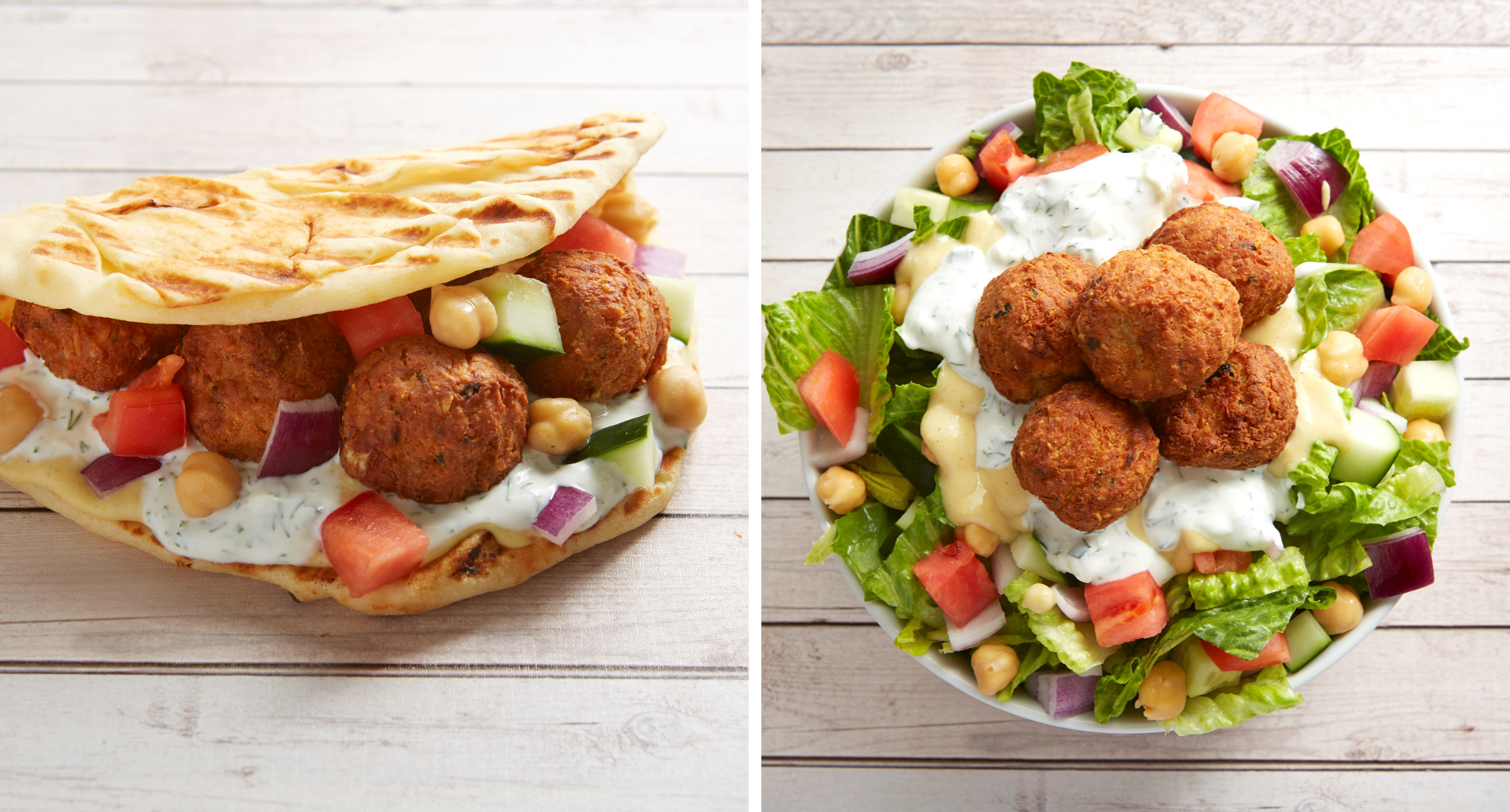 Falafel Gyro - falafel, chickpea, onion, tomato, cucumber, hummus & tzatziki sauce wrapped in flatbread. Falafel Salad - romaine topped with falafel, chickpea, onion, tomato, cucumber, hummus & tzatziki sauce