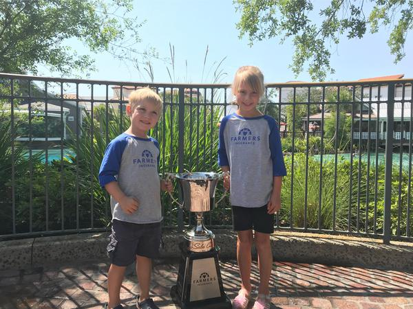 Two children standing next to trophy.