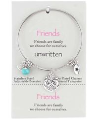 Image of Unwritten Friends Forever Charm and Turquoise (8mm) Bangle Bracelet in Stainless Steel