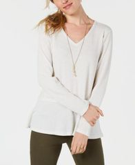 Image of Style & Co V-Neck Thermal Top, Created for Macy's
