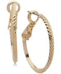 Image of Anne Klein Diamond-Cut Hoop Earrings