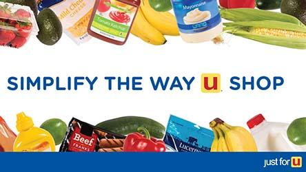 Simplify the way u shop. Different food items around just for U®program image.