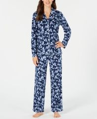 Image of Charter Club Printed Fleece Notched Collar Pajama Set, Created for Macy's
