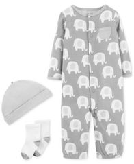 Image of Carter's Baby Boys or Girls 3-Pc. Elephant-Print Cotton Coverall, Hat & Socks Set