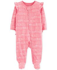 Image of Carter's Baby Girls All-Over Words Cotton Footed Pajamas