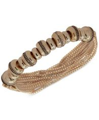 Image of Anne Klein Gold-Tone Textured Rondelle Bead Multi-Chain Stretch Bracelet