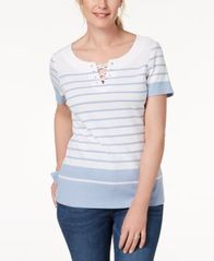 Image of Karen Scott Lace-Up Top, Created for Macy's