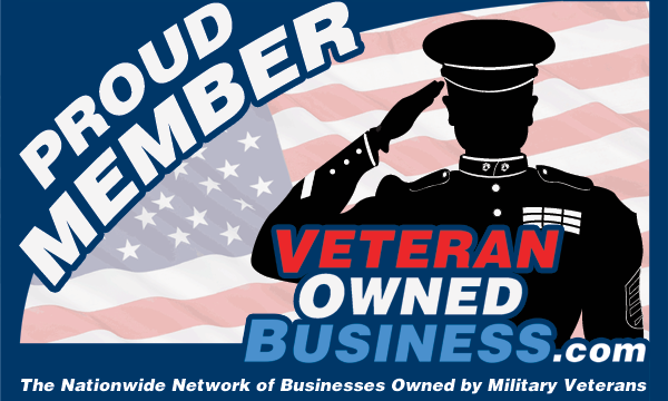 "Silhouette of a cartoon soldier over an american flag next to text that reads ""Proud Member - VeteranOwnedBusiness.com """