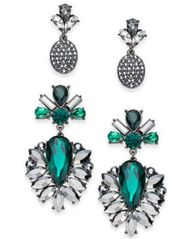 Image of I.N.C. Day & Night Hematite-Tone 2-Pc. Box Set Coordinated Crystal & Stone Drop Earrings, Created fo
