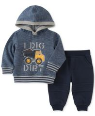 Image of Kids Headquarters 2-Pc. I Dig Dirt Hoodie & Pants Set, Baby Boys (0-24 months)