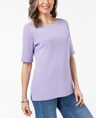 Image of Karen Scott Cuffed Boat-Neck Top, Created for Macy's