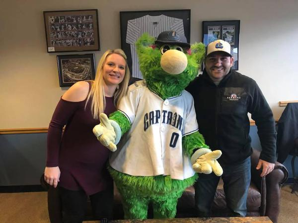 Lake County mascot standing between agents