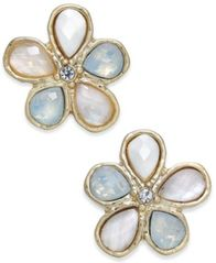 Image of lonna & lilly Gold-Tone Multi-Stone Flower Stud Earrings