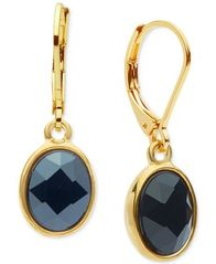 Image of Anne Klein Oval Crystal Drop Earrings