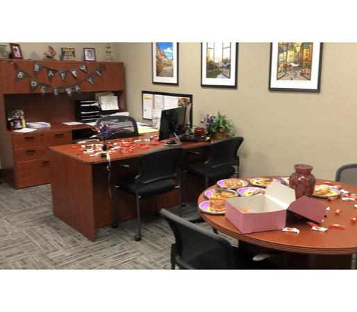Image of desk with treats on it