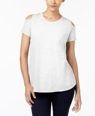 Image of Style & Co Cotton Cold-Shoulder T-Shirt, Created for Macy's