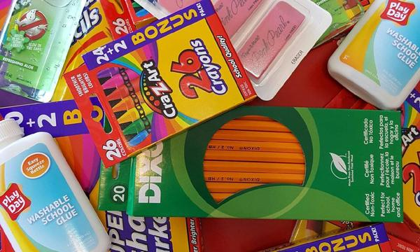 School supplies for Jacob Hainsfurther Agency's school supply drive.