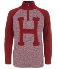 "Image of Tommy Hilfiger Little Boys ""H"" Quarter-Zip Sweater"