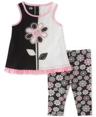 Image of Kids Headquarters 2-Pc. Tunic & Floral-Print Capri Leggings Set, Toddler Girls