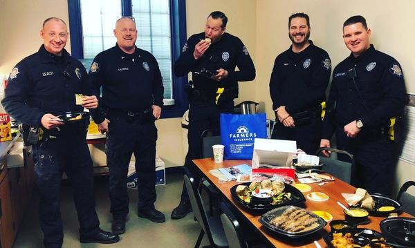 Lower Windsor Township Police Department posing with donated lunch