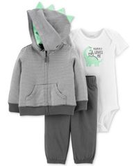 Image of Carter's Baby Boys 3-Pc. Dino Hoodie, Bodysuit & Pants Set