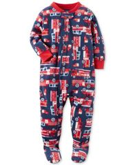 Image of Carter's 1-Pc. Firetruck-Print Footed Pajamas, Baby Boys (0-24 months)